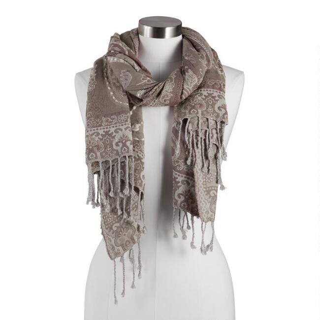 Taupe Jacquard Paisley Reversible Blanket Scarf