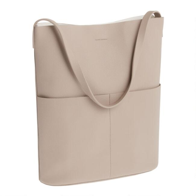 Taupe Minimalist Faux Leather Hobo Tote Bag