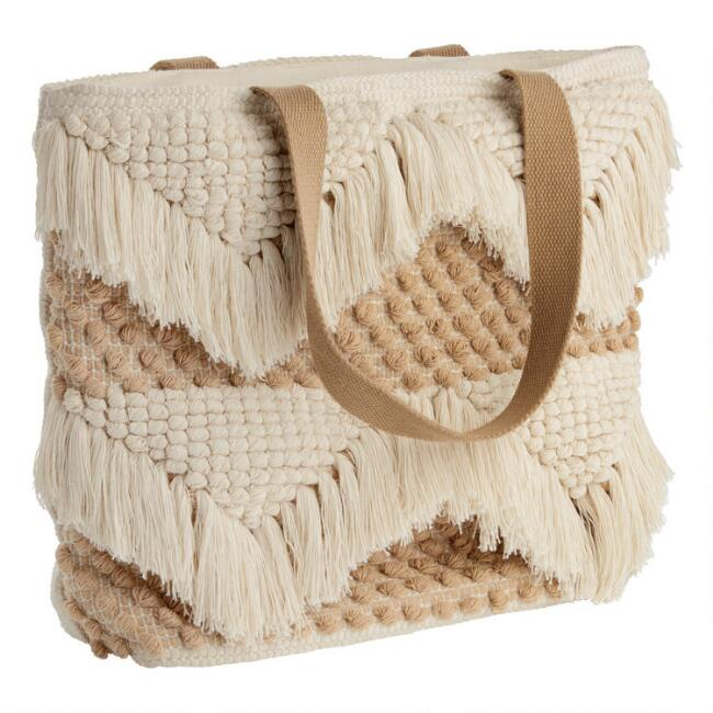 Tan And Ivory Textured Fringe Tote Bag