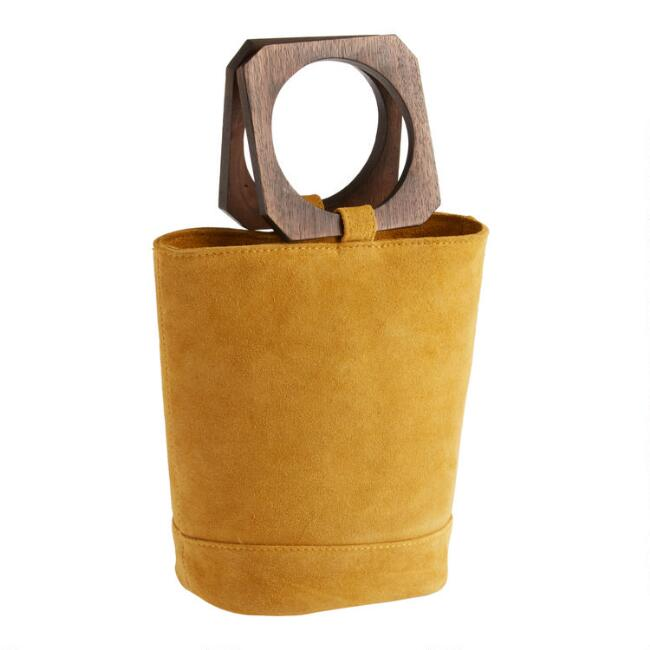 Small Mustard Suede Tote Bag with Geo Wood Handle