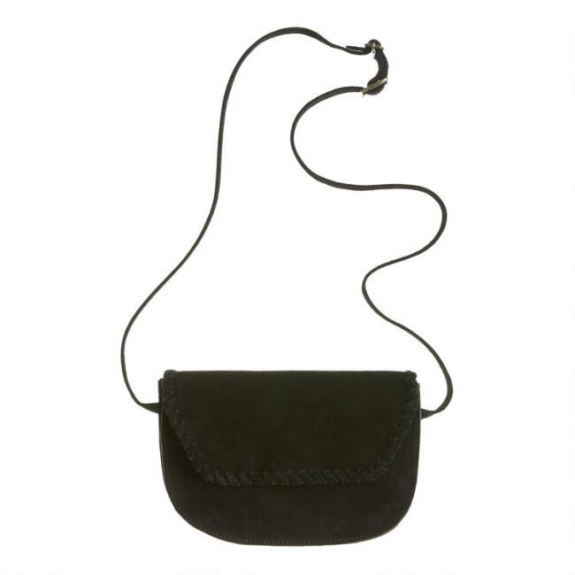 Black Suede Convertible Crossbody Belt Bag