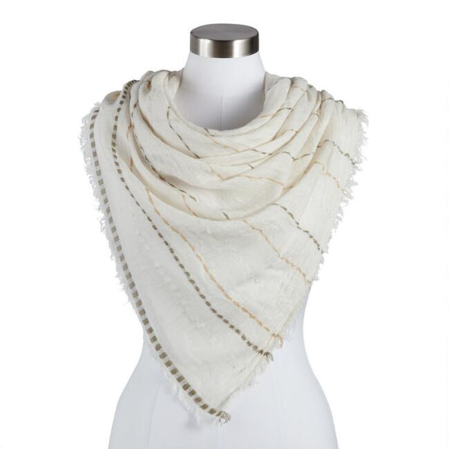 Oatmeal, Tan And Olive Striped Scarf