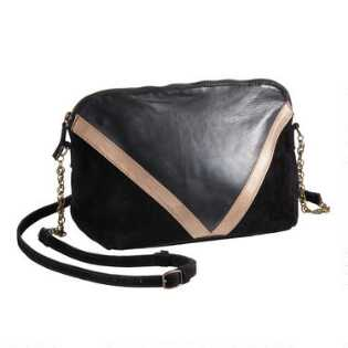 Black And Bronze Leather Suede Crossbody Bag