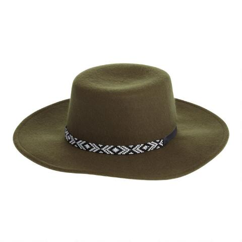 468b6078f Olive Wool Flat Top Hat with Beaded Trim