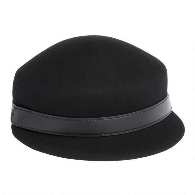 dc7be47da Black Wool And Leather Cadet Hat