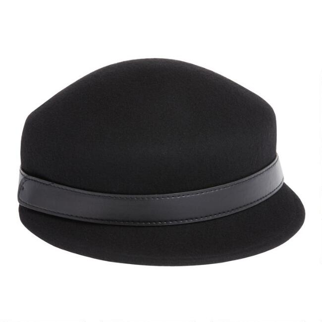 Black Wool And Leather Cadet Hat