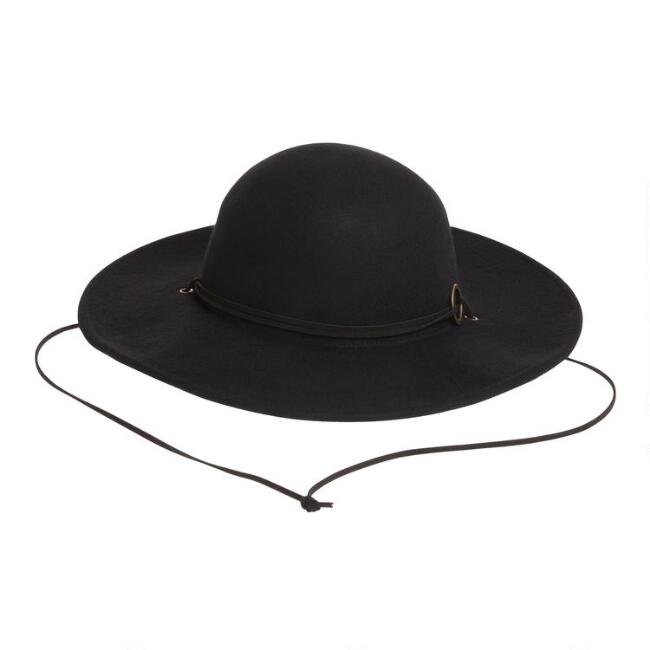 Black Floppy Hat with Tie