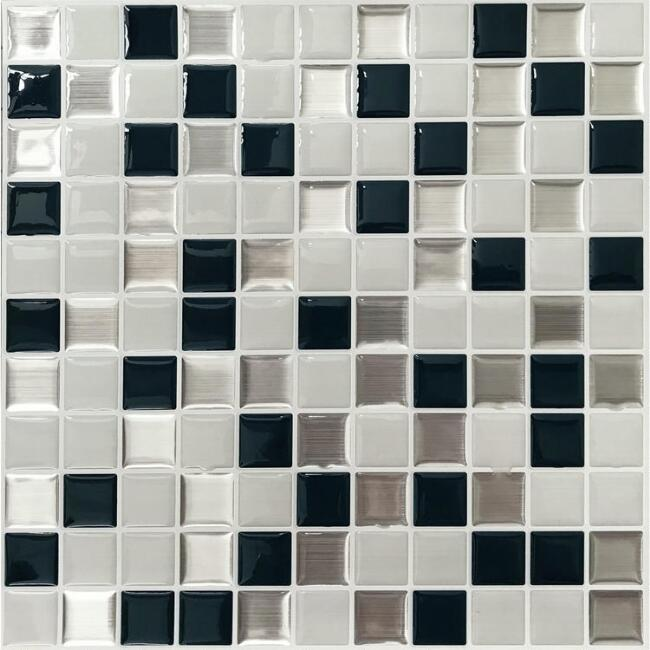 Black and White Square Mosaic Peel and Stick Tiles