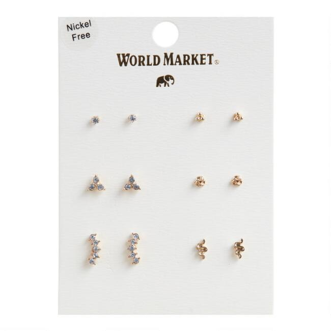 Gold And Glass Stud Earrings Set Of 6