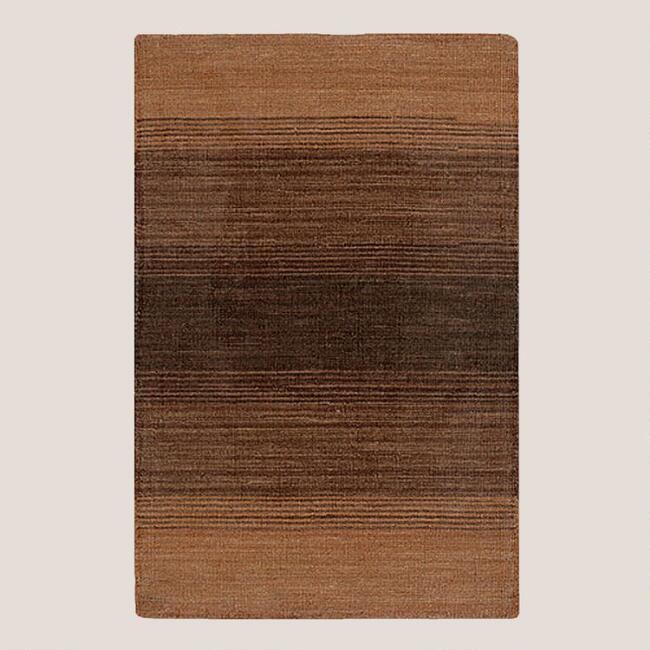 Ombre Stripe Kilim Wool Rug, Brown