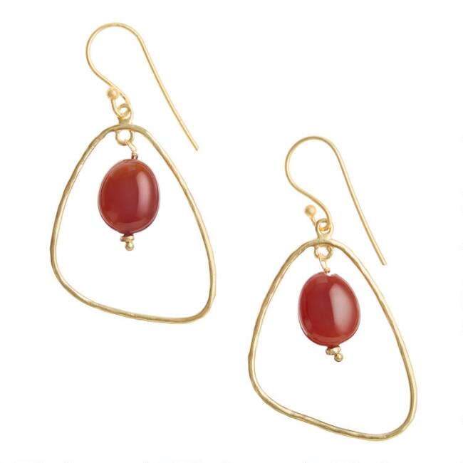 Gold and Red Carnelian Stone Drop Earrings
