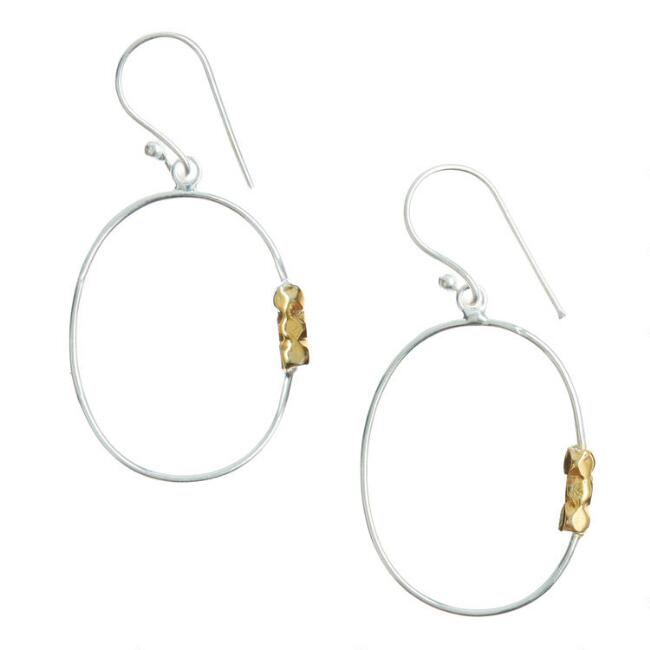 Gold And Silver Mixed Metal Beaded Hoop Earrings