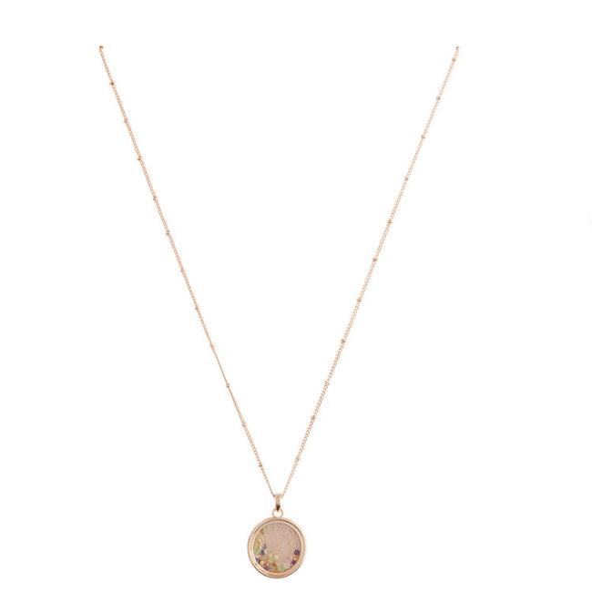 Gold and Multicolor Glass Stone Shaker Pendant Necklace