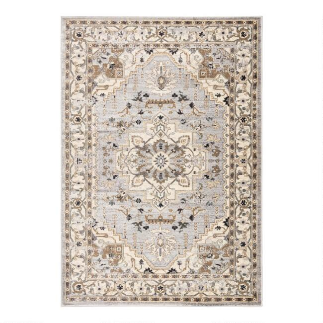 Ivory and Beige Medallion Elyse Area Rug