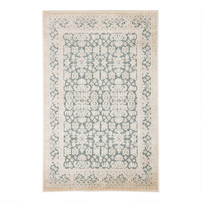 Teal and Ivory Damask Bristola Area Rug