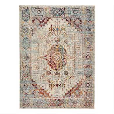 Orange Multicolor Medallion Sumay Indoor Outdoor Rug
