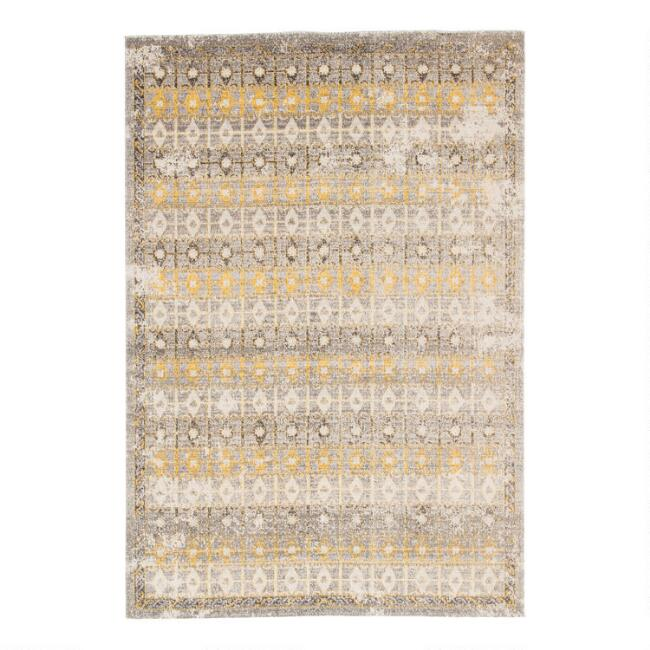 Gray and Yellow Trellis Bartone Indoor Outdoor Rug