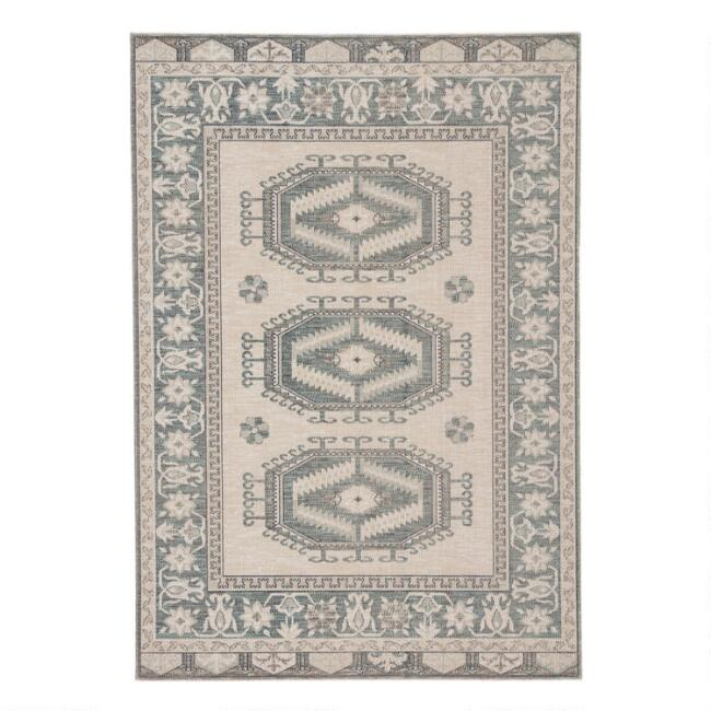 Light Teal and Gray Medallion Lima Indoor Outdoor Rug