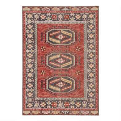 Red and Yellow Medallion Lima Indoor Outdoor Rug