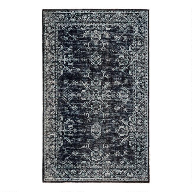 Blue and Black Medallion Kiya Indoor Outdoor Rug