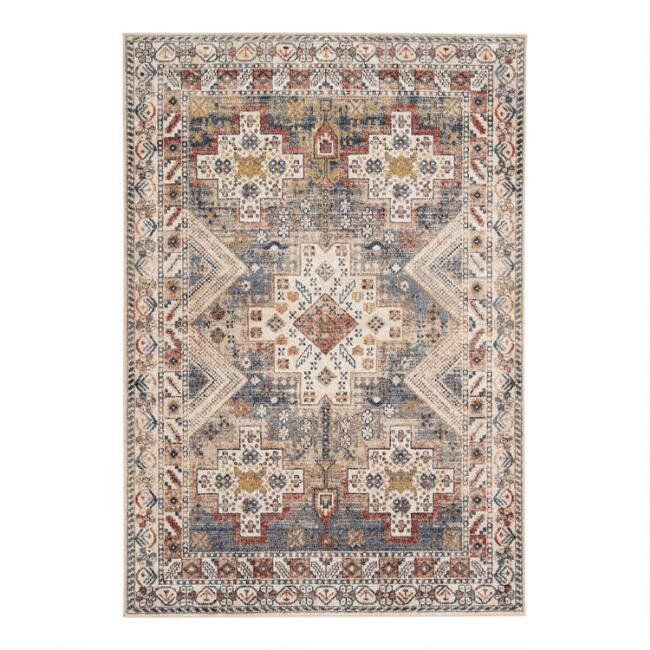 Gold Multicolor Medallion Rama Area Rug