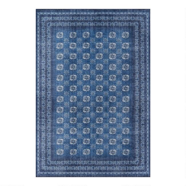 Blue and Ivory Floral Tile Jade Area Rug