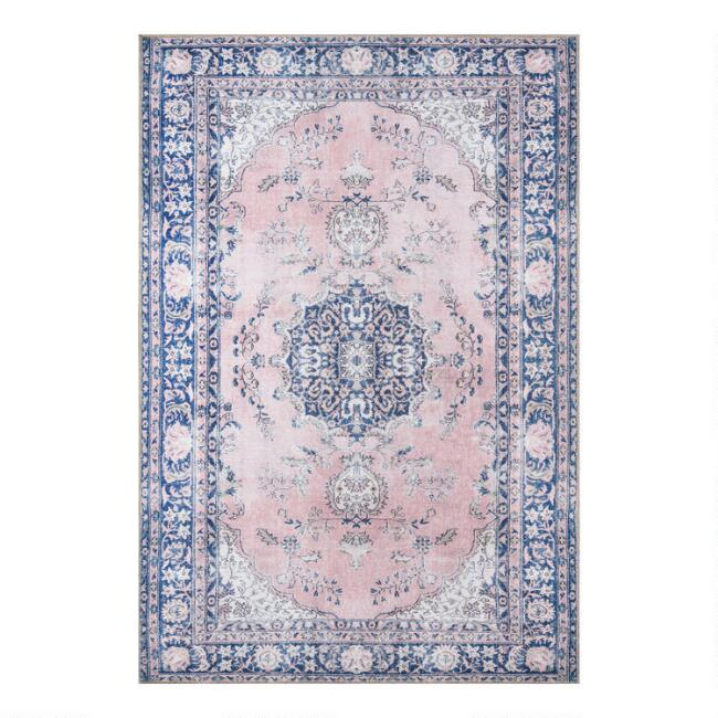 Pink and Blue Medallion Scarlett Area Rug