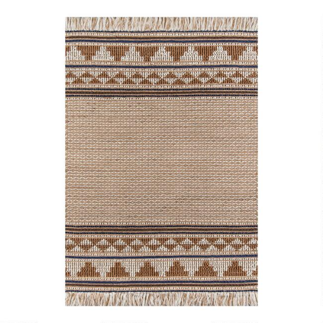 Brown and Natural Wool and Jute Neena Area Rug