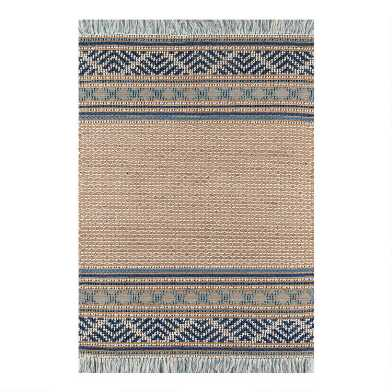 Blue and Natural Wool and Jute Julette Area Rug