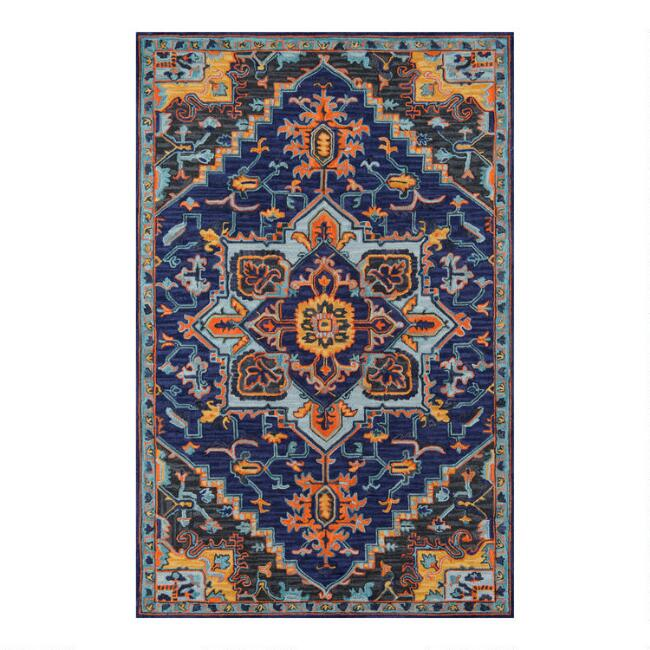 Navy and Orange Medallion Tufted Wool Zareen Area Rug