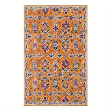 Orange Floral Tufted Wool Kelani Area Rug