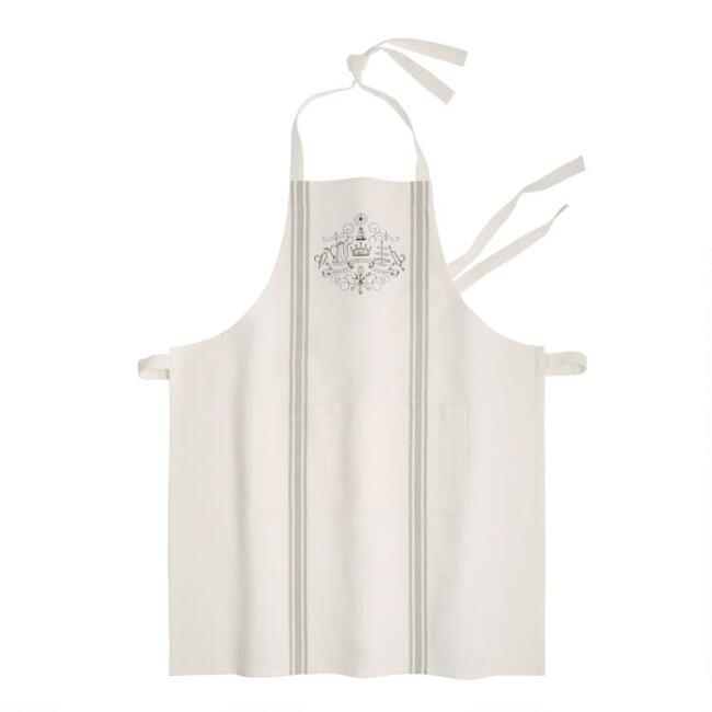 White Downton Abbey Striped Crest Apron