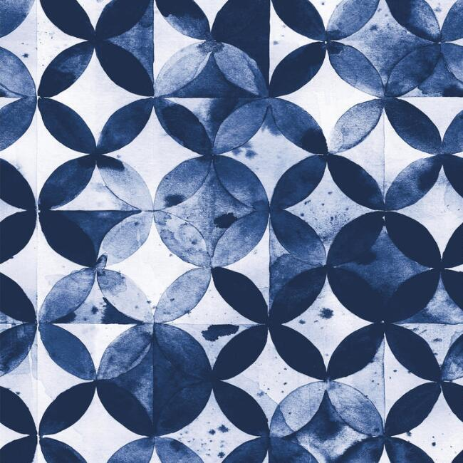 White and Blue Moroccan Tile Geo Peel and Stick Wallpaper