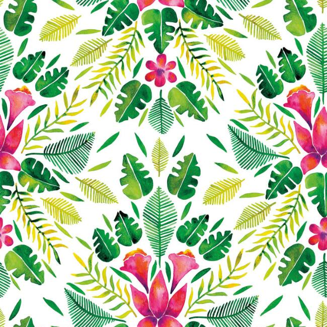 Cat Coquillette Green & Pink Tropic Peel and Stick Wallpaper