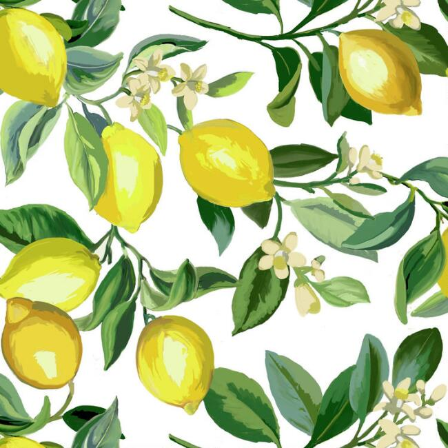 White and Yellow Lemon Peel and Stick Wallpaper