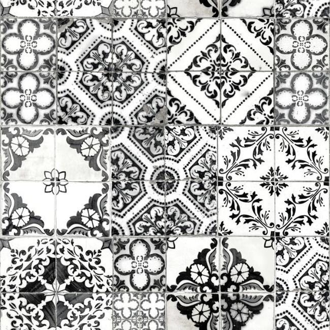 Black and White Mosaic Tile Peel and Stick Wallpaper