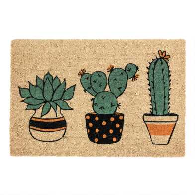 Potted Cactus Coir Doormat