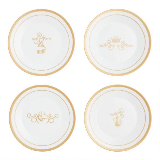 White and Gold Downton Abbey Plates 4 Pack