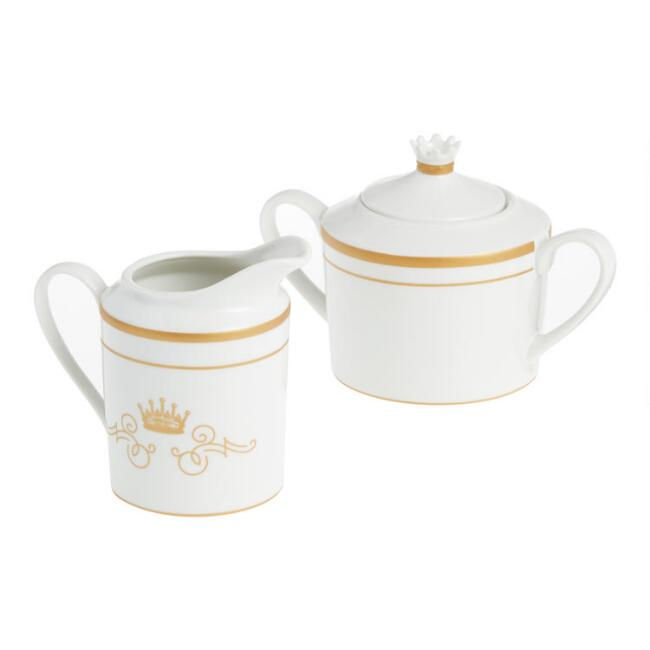 White and Gold Downton Abbey Creamer and Sugar Bowl Set