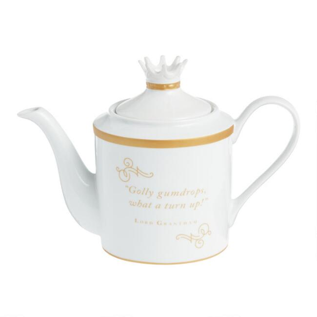 White and Gold Downton Abbey Teapot