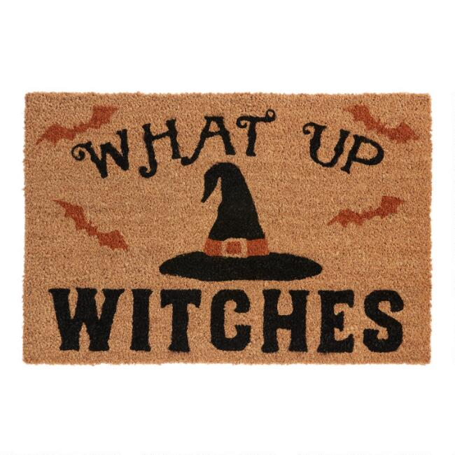 What Up Witches Halloween Coir Doormat