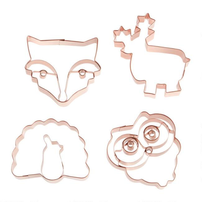 Copper Holiday Animal Cookie Cutters Set of 4