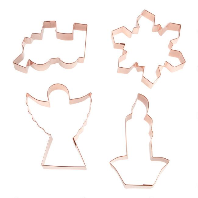 Copper Retro Holiday Cookie Cutters Set of 4