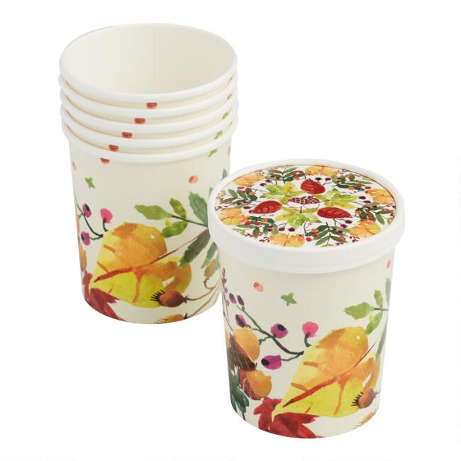 Large Thanksgiving Paper Take Away Cups with Lids 6 Pack