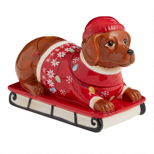 Snow Sled Dachshund Ceramic Cookie Jar