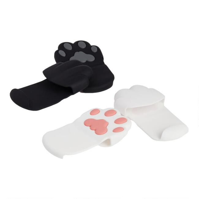 2 Pack White and Black Cat Paw Pot Pinchers Set of 2