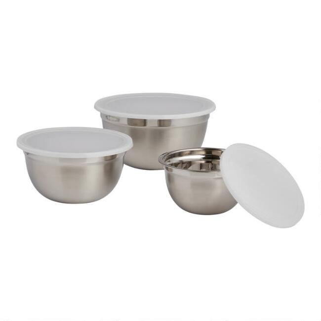 Stainless Steel Nesting Mixing Bowls with Lids 3 Pack