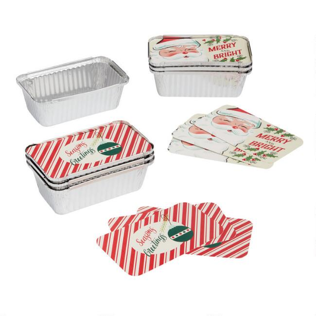 4 Pack Retro Holiday Bake Away Loaf Pans with Lids Set of 2