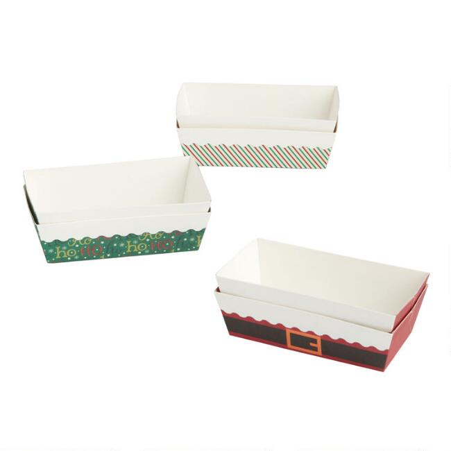Retro Holiday Paper Loaf Pans 6 Pack
