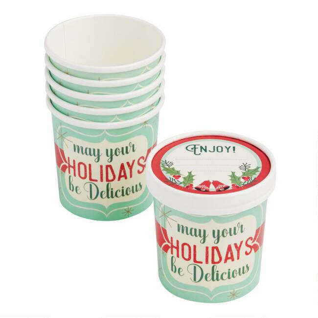 Medium Retro Holiday Paper Take Away Cups with Lids 6 Pack